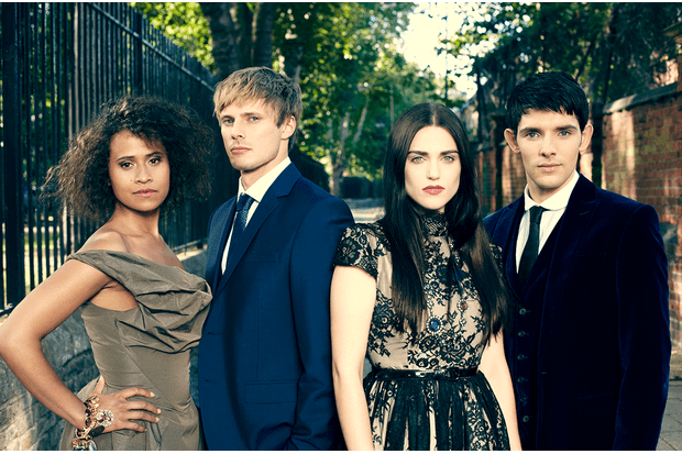 The younger cast of Merlin L-R Angel Coulby (Guinevere), Bradley James (Arthur), Katie McGrath (Morgana), Colin Morgan (Merlin)