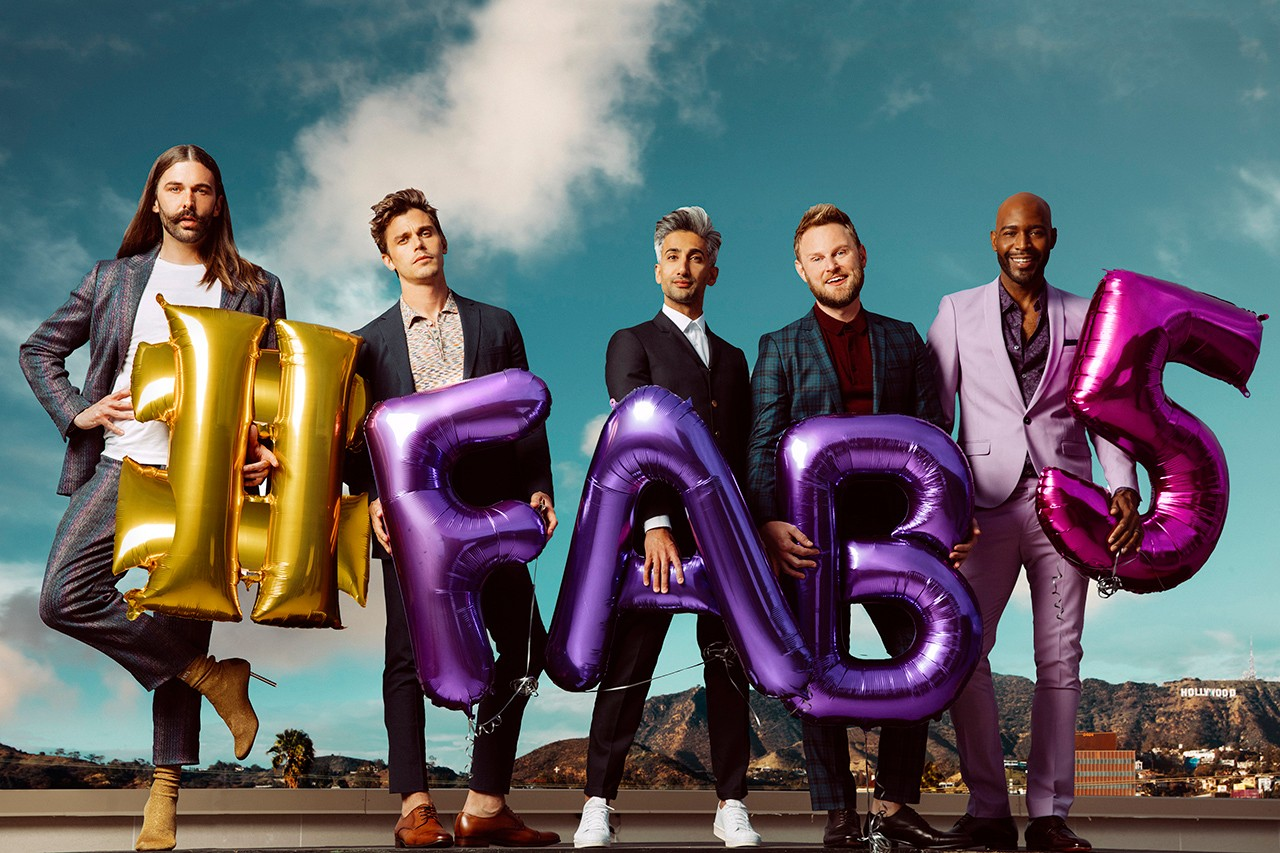 Jonathan Van Ness, Antoni Porowski, Tan France, Bobby Berk, and Karamo Brown pose for Queer Eye season 2 (Netflix)