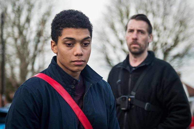 Chance Perdomo and Craig Parkinson in Killed By My Debt (BBC, HF)