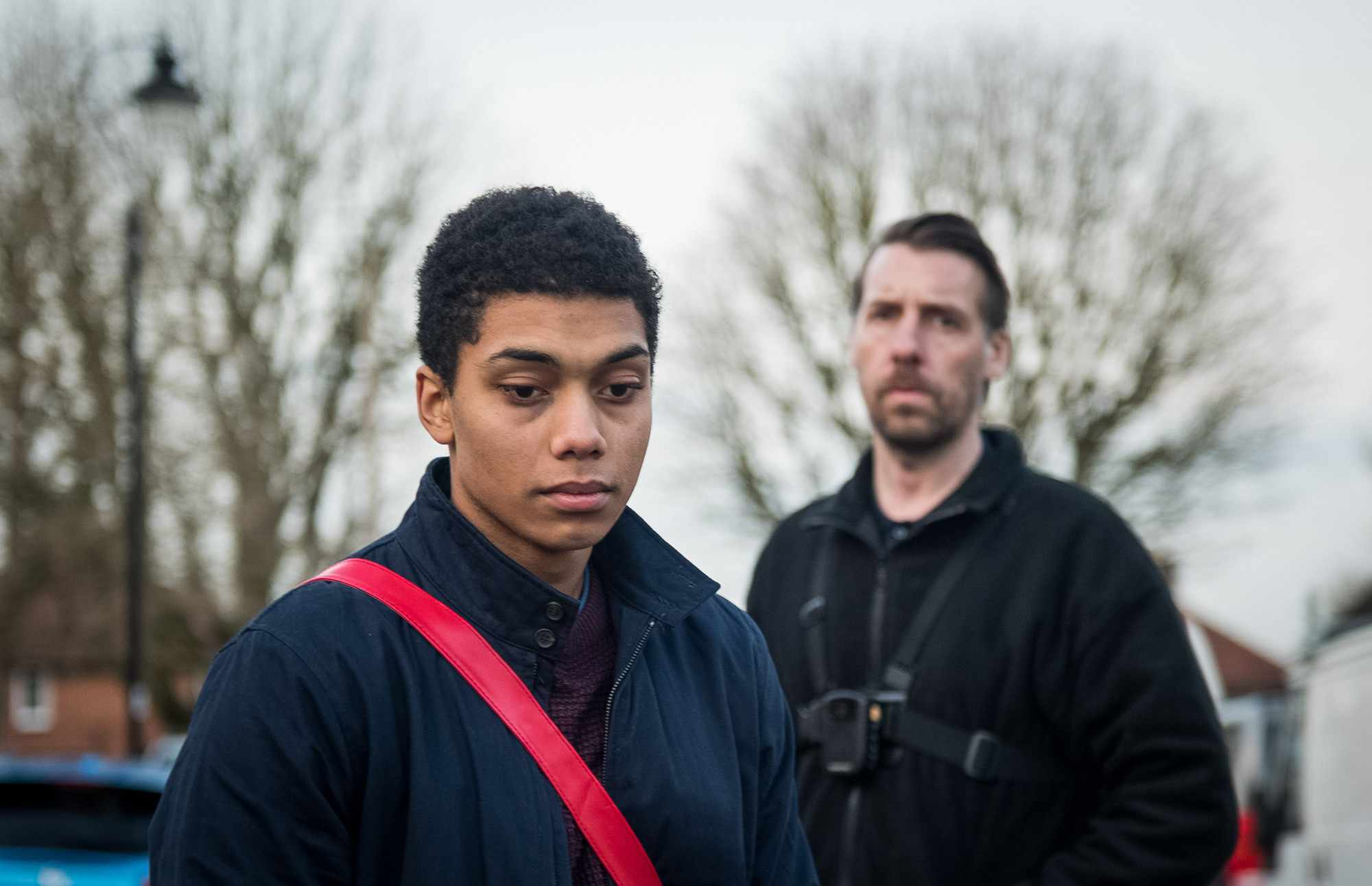 Programme Name: Killed By My Debt - TX: n/a - Episode: Killed By My Debt (No. n/a) - Picture Shows:  Jerome Rogers (CHANCE PERDOMO), Bailiff (CRAIG PARKINSON) - (C) BBC - Photographer: Parisa Taghizadeh