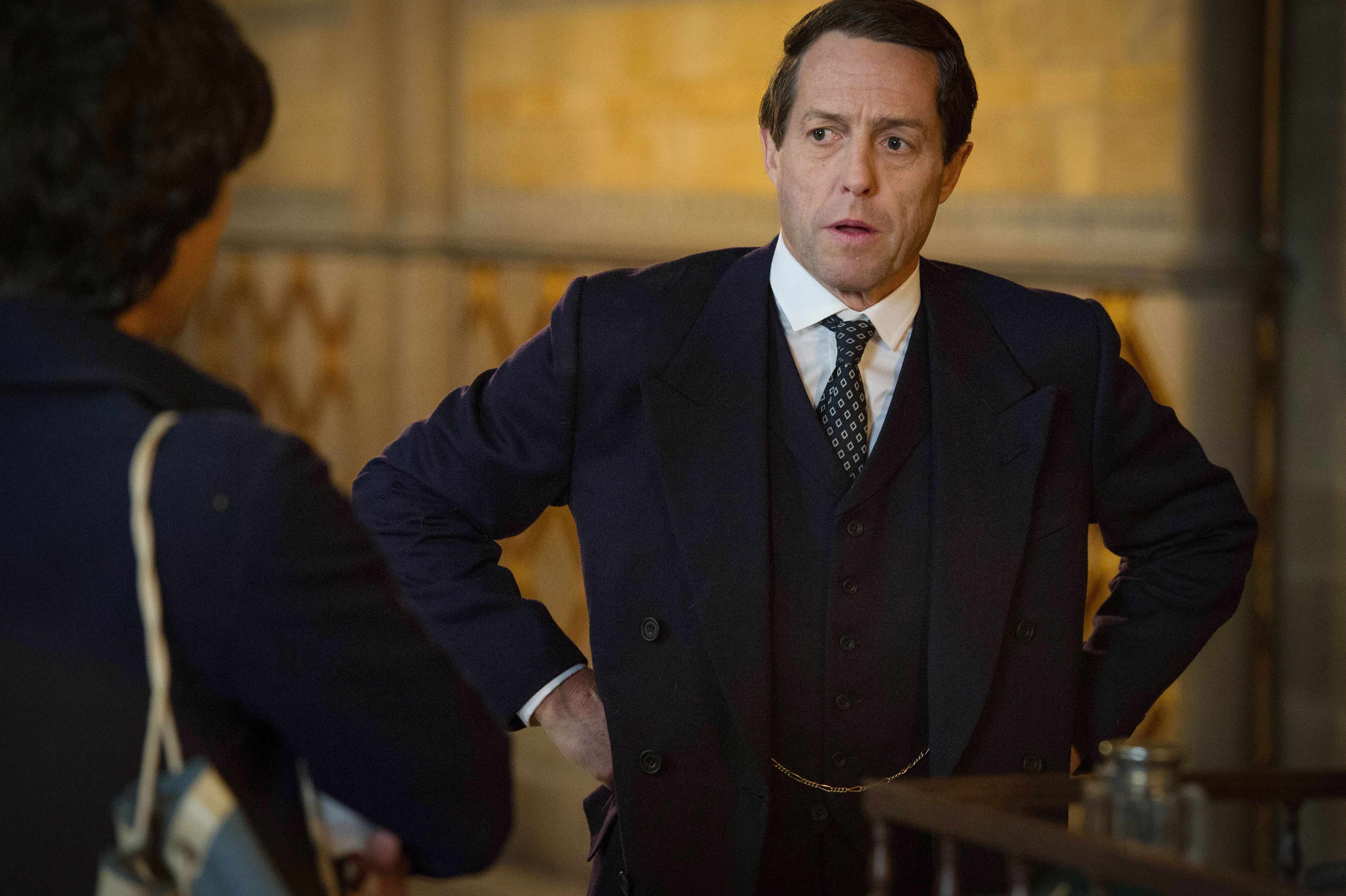 WARNING: Embargoed for publication until 16:00:01 on 27/04/2018 - Programme Name: A Very English Scandal - TX: n/a - Episode: n/a (No. 1) - Picture Shows: ***EMBARGOED UNTIL 16:00hrs 27th APRIL 2018*** Norman Scott (BEN WHISHAW), Jeremy Thorpe (HUGH GRANT) - (C) Blueprint Television Ltd - Photographer: Ludovic Robert  TL