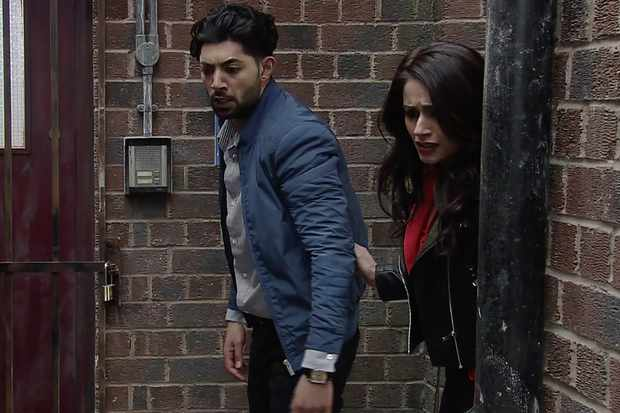 FROM ITV   STRICT EMBARGO - No Use Before Tuesday 8th May 2018  Coronation Street - Ep 9460  Friday 18 May 2018 - 2nd Ep  As Kate Connor [FAYE BROOKES] struggles, Zeedan Nazir [QASIM AHKTAR] hears Rana Nazir [BHAVNA LIMBACHIA] scream and runs over punching Phil and knocking him unconscious.   Picture contact - david.crook@itv.com  This photograph is (C) ITV Plc and can only be reproduced for editorial purposes directly in connection with the programme or event mentioned above, or ITV plc. Once made available by ITV plc Picture Desk, this photograph can be reproduced once only up until the transmission [TX] date and no reproduction fee will be charged. Any subsequent usage may incur a fee. This photograph must not be manipulated [excluding basic cropping] in a manner which alters the visual appearance of the person photographed deemed detrimental or inappropriate by ITV plc Picture Desk. This photograph must not be syndicated to any other company, publication or website, or permanently archived, without the express written permission of ITV Plc Picture Desk. Full Terms and conditions are available on the website www.itvpictures.com