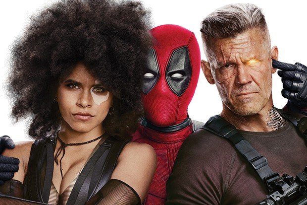 Zazie Beetz as Domino, Ryan Reynolds as Deadpool and Josh Brolin as Cable in Deadpool 2 (20th Century Fox, HF)