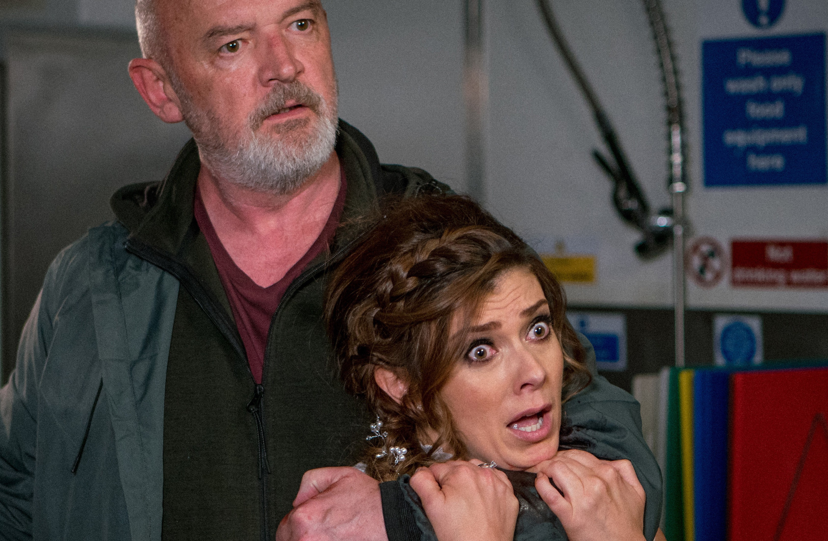FROM ITV STRICT EMBARGO - No Use Before 0001 Sunday 27th May 2018Coronation Street - Ep 9470Friday 1st June 2018 Michelle Connor [KYM MARSH] is held hostage by Phelan [CONNOR McINTYRE] at the Bistro Picture contact - david.crook@itv.comPhotographer - Mark BruceThis photograph is (C) ITV Plc and can only be reproduced for editorial purposes directly in connection with the programme or event mentioned above, or ITV plc. Once made available by ITV plc Picture Desk, this photograph can be reproduced once only up until the transmission [TX] date and no reproduction fee will be charged. Any subsequent usage may incur a fee. This photograph must not be manipulated [excluding basic cropping] in a manner which alters the visual appearance of the person photographed deemed detrimental or inappropriate by ITV plc Picture Desk. This photograph must not be syndicated to any other company, publication or website, or permanently archived, without the express written permission of ITV Plc Picture Desk. Full Terms and conditions are available on the website www.itvpictures.com