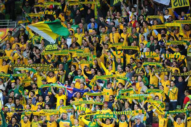 MELBOURNE, AUSTRALIA - JANUARY 09:  General view of Australia fans during the National Anthems before the 2015 Asian Cup match between the Australian Socceroos and Kuwait at AAMI Park on January 9, 2015 in Melbourne, Australia.  (Photo by Vince Caligiuri/Getty Images)
