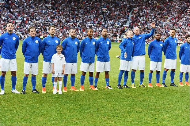 MANCHESTER, ENGLAND - JUNE 05: Rest of The World Teammates during Soccer Aid at Old Trafford on June 5, 2016 in Manchester, England. (Photo by Dave J Hogan/Dave J Hogan/Getty Images)