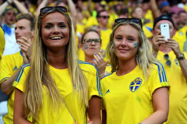 Swedish fans poses for the photo during the UEFA Euro 2016 Group E match between Sweden and Belgium at Stade de Nice in Nice, France on June 22, 2016 (Photo by Andrew Surma/NurPhoto via Getty Images)