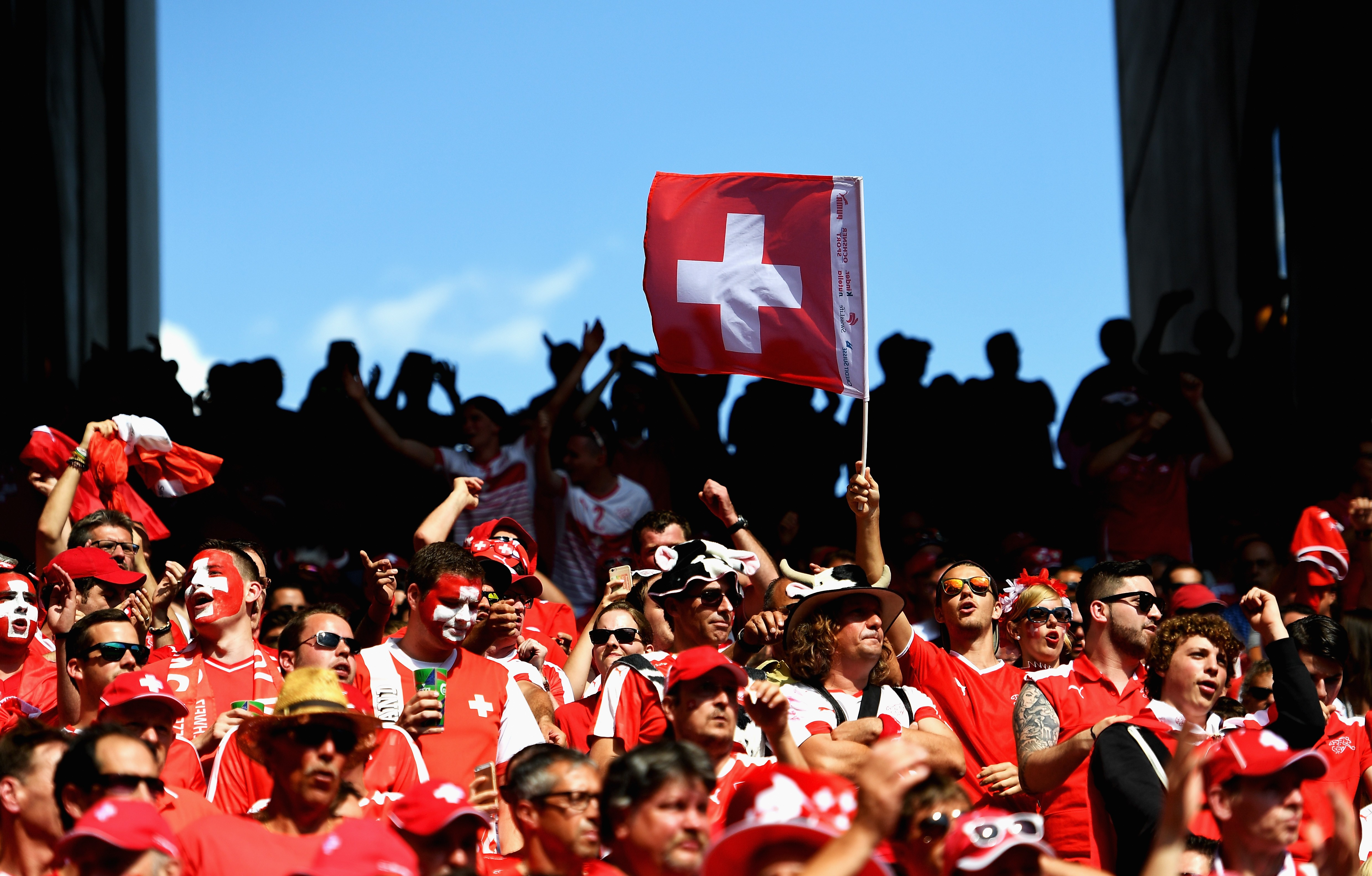 SAINT-ETIENNE, FRANCE - JUNE 25: Switzerland supporters cheer during the UEFA EURO 2016 round of 16 match between Switzerland and Poland at Stade Geoffroy-Guichard on June 25, 2016 in Saint-Etienne, France.  (Photo by Laurence Griffiths/Getty Images)