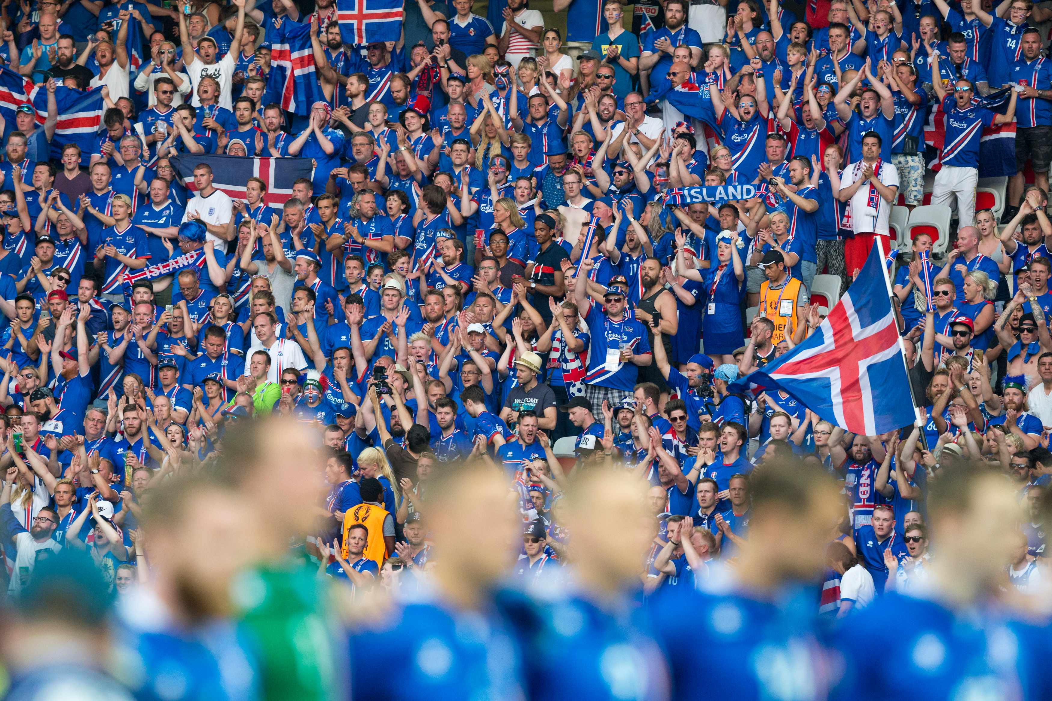 NICE, FRANCE - JUNE 25:  Iceland fans during their side's national anthem during the UEFA Euro 2016 Round of 16 match between England and Iceland at Allianz Riviera Stadium on June 27 in Nice, France.  (Photo by Craig Mercer/CameraSport via Getty Images)