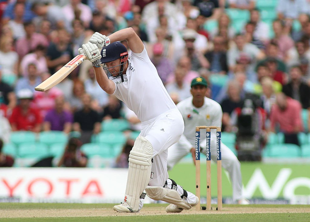 LONDON, ENGLAND - AUGUST 14: Jonny Bairstow of England plays a shot during day four of the 4th Investec Test match between England and Pakistan at The Kia Oval Cricket Ground on August 14, 2016 in London, United Kingdom.  (Photo by Mitchell Gunn/Getty Images)