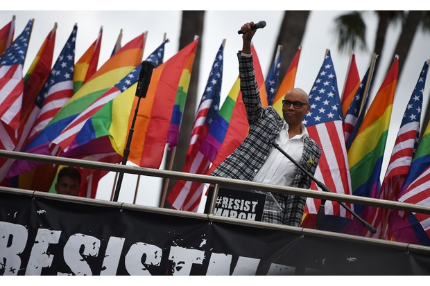 Ru Paul at the LA #ResistMarch in 2017 (Getty, TL)