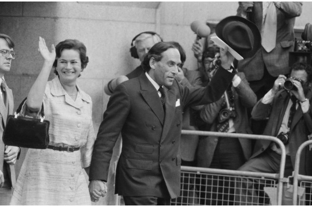 Jeremy Thorpe and his wife Marion leave the Old Bailey in London, 10th June 1979 (Getty, EH)