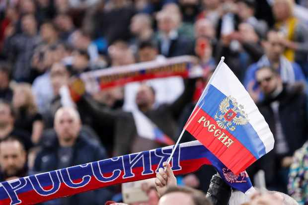 Russian supporters during the international friendly football match between Russia and France on March 27, 2018 at Saint Petersburg Stadium in Saint Petersburg, Russia. (Photo by Mike Kireev/NurPhoto via Getty Images)