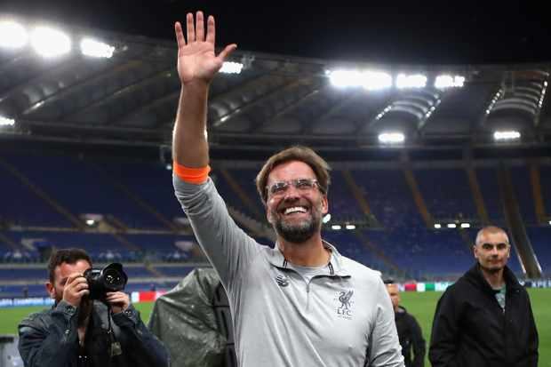 ROME, ITALY - MAY 02:  Jurgan Klopp manager of Liverpool celebrates after the full time whistle during the UEFA Champions League Semi Final Second Leg match between A.S. Roma and Liverpool at Stadio Olimpico on May 2, 2018 in Rome, Italy.  (Photo by Julian Finney/Getty Images)  TL