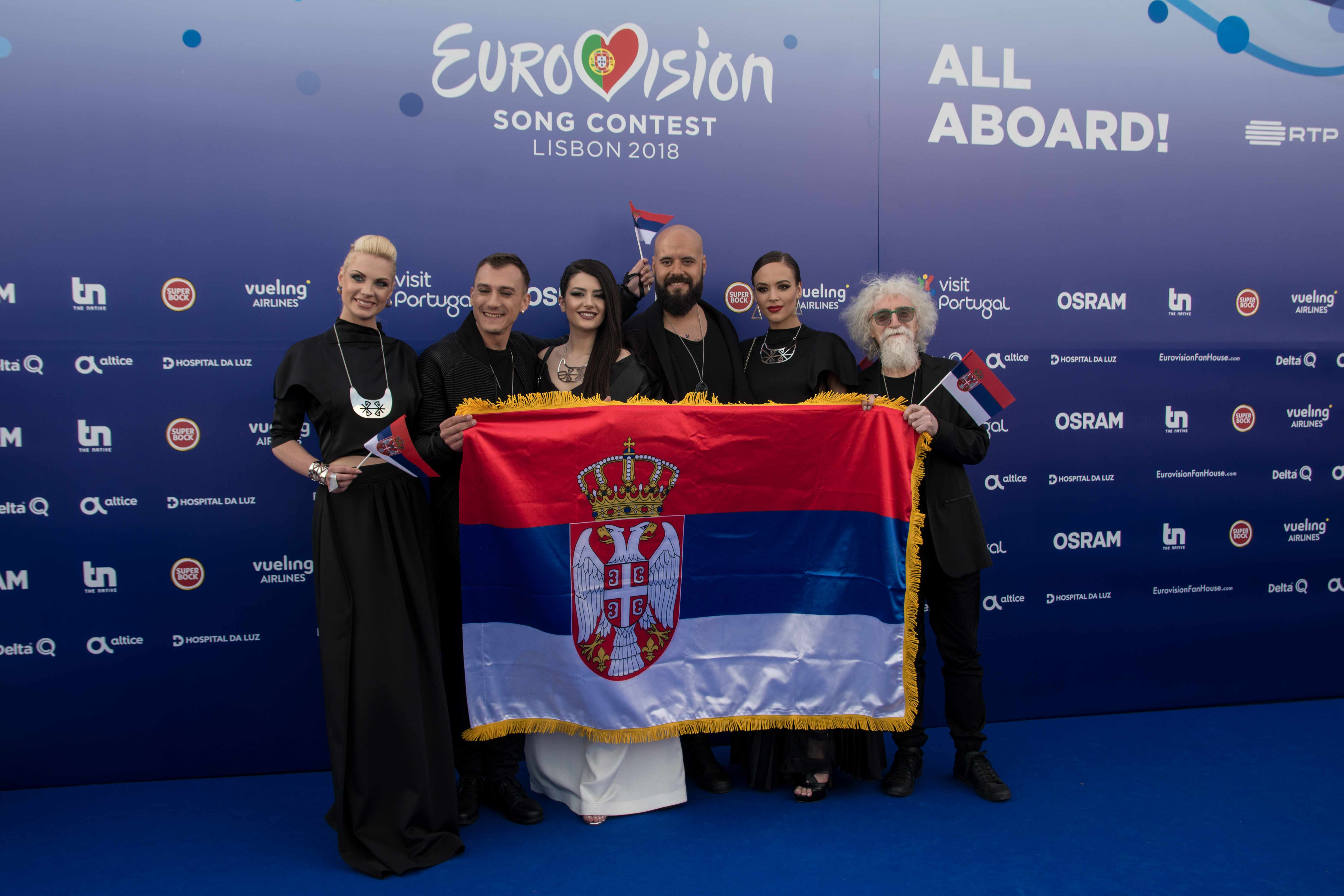 LISBON, PORTUGAL - MAY 06:  Sanja Ilic & Balkanika of Serbia attend the red carpet before the Eurovision private party on May 6, 2018 in Lisbon, Portugal.  (Photo by Pedro Gomes/Getty Images)