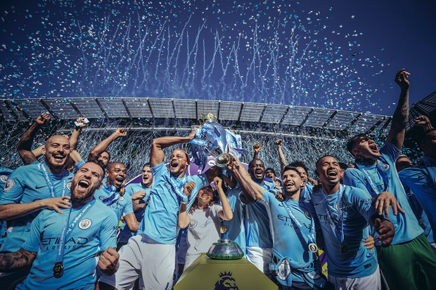 Manchester City lift the Premier League trophy in May 2018 (Getty)