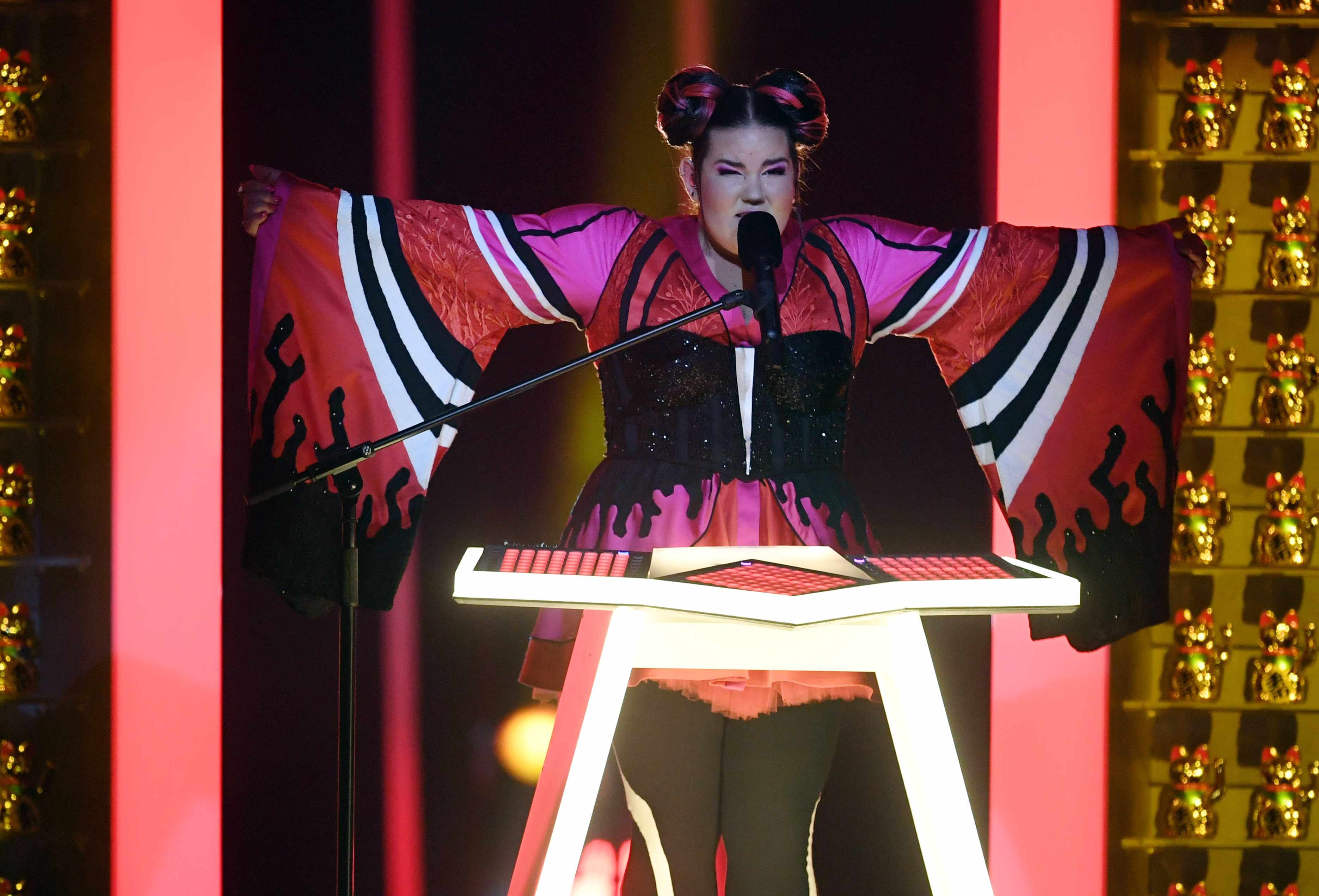 """Israel's singer Netta performs the song """"Toy"""" during the first semifinal of the 63rd edition of the Eurovision Song Contest 2018 at the Altice Arena in Lisbon, on May 8, 2018. - The Eurovision Song Contest 2018 will be held in the Portuguese capital Lisbon from May 8 until May 12, 2018. (Photo by FRANCISCO LEONG / AFP)        (Photo credit should read FRANCISCO LEONG/AFP/Getty Images)"""