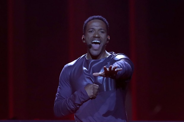 Singer Cesar Sampson of Austria performs during Eurovision 2018 Getty)