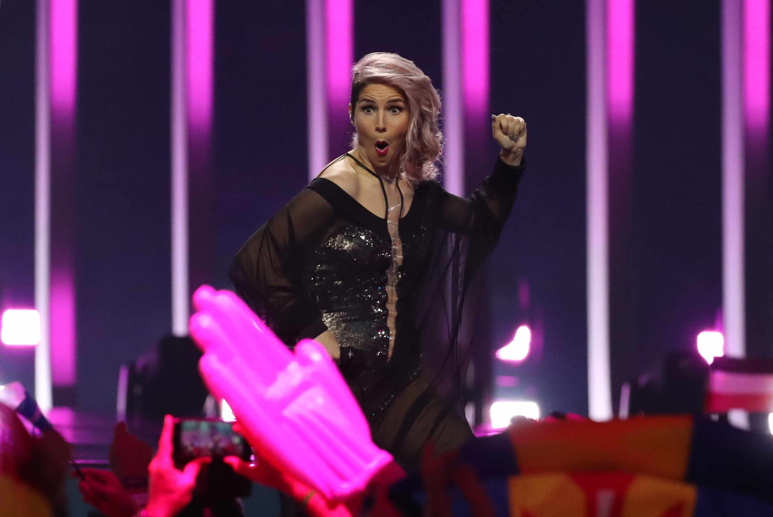 Lea Sirk performing for Slovenia in the Eurovision 2018 semifinal (Getty)