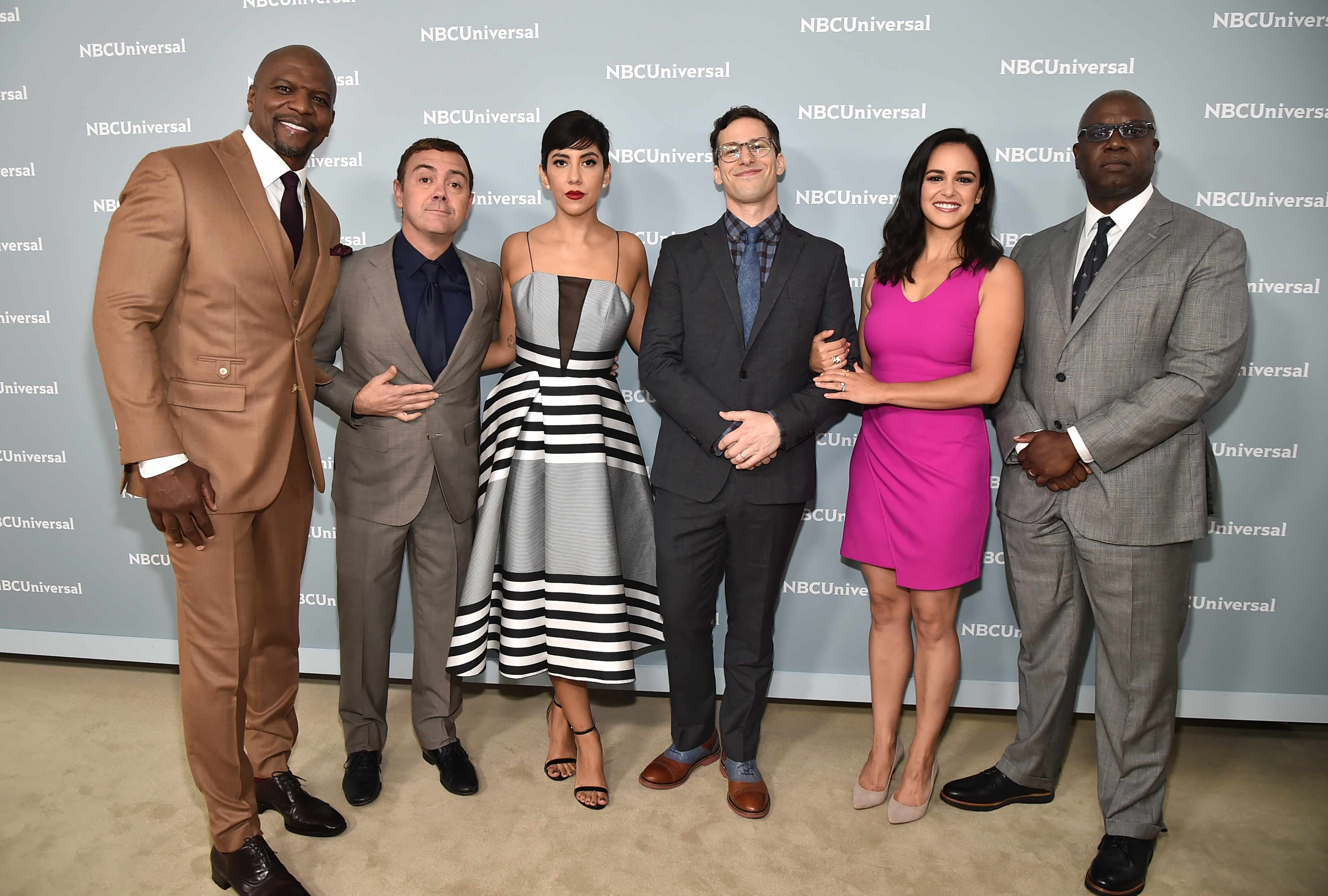 """NBCUNIVERSAL UPFRONT EVENTS --  2018 NBCUniversal Upfront in New York City on Monday, May 14, 2018 -- Red Carpet -- Pictured: Terry Crews, Joe Lo Truglio, Stephaine Beatriz, Andy Samberg, Melissa Fumero, Andre Braugher, """"Brooklyn Nine-Nine"""" on NBC-- (Photo by: Theo Wargo/NBCUniversal/NBCU Photo Bank via Getty Images)  Getty, TL"""