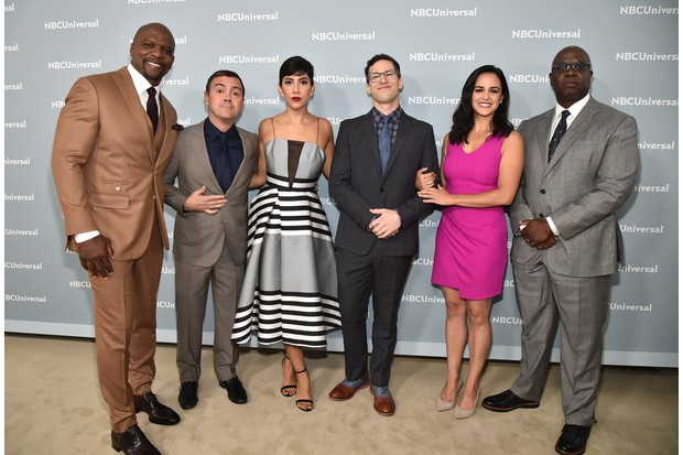 "NBCUNIVERSAL UPFRONT EVENTS -- 2018 NBCUniversal Upfront in New York City on Monday, May 14, 2018 -- Red Carpet -- Pictured: Terry Crews, Joe Lo Truglio, Stephaine Beatriz, Andy Samberg, Melissa Fumero, Andre Braugher, ""Brooklyn Nine-Nine"" on NBC-- (Photo by: Theo Wargo/NBCUniversal/NBCU Photo Bank via Getty Images)Getty, TL"