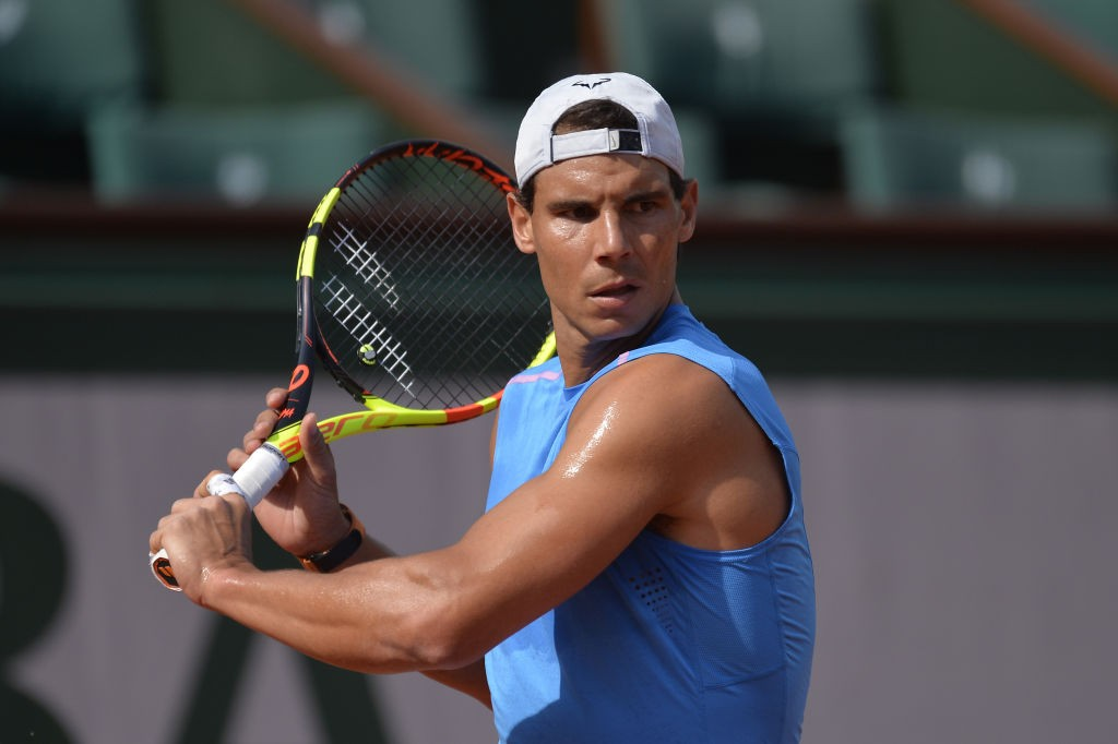 PARIS, FRANCE - MAY 25:  Rafael Nadal of Spain plays a backhand during a training session ahead of the French Open at Roland Garros on May 25, 2018 in Paris, France.  (Photo by Aurelien Meunier/Getty Images)