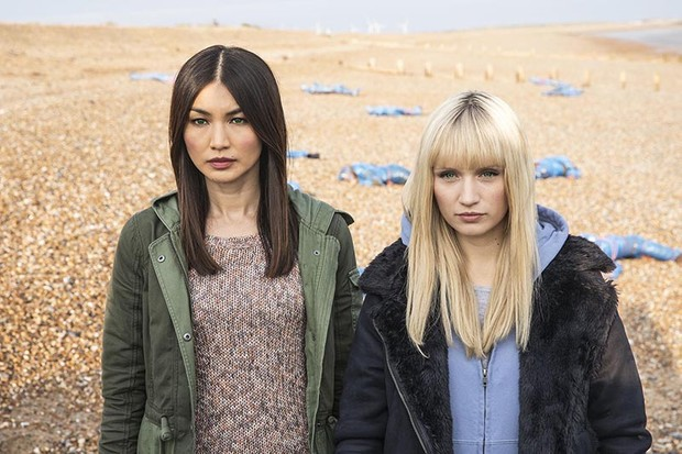 Mia (Gemma Chan) and Niska (Emily Berrington) in Humans series three (Channel 4, HF)