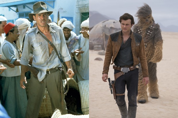 Harrison Ford in Raiders of the Lost Ark and Alden Ahrenreich in Solo: A Star Wars story (LucasFilm, Sky, HF)