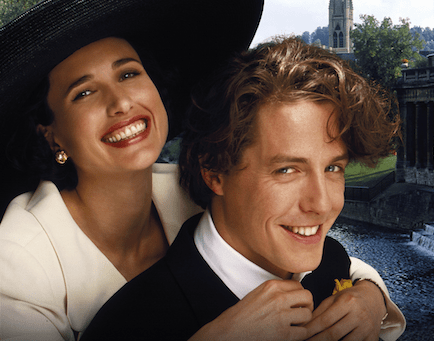 Andie MacDowell and Hugh Grant in Four Weddings and a Funeral (Sky)