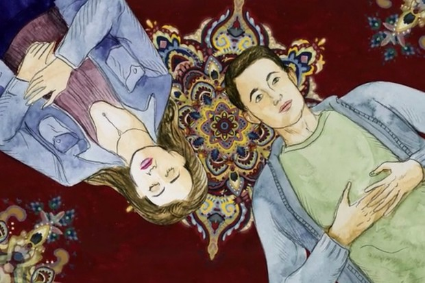 Hannah and Clay in an animated scene from 13 Reasons Why season 2 (Netflix)