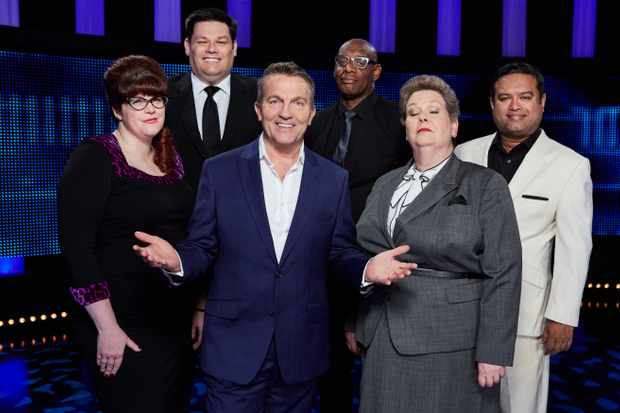 From ITV Studios   THE CHASE  Weekdays on ITV   Pictured: (l-r) Chasers Jenny ÔThe VixenÕ Ryan, Mark ÔThe BeastÕ Labbett, Host Bradley Walsh, Shaun ÔThe BarristerÕ Wallace, Anne ÒThe GovernessÓ Hegerty, and  Paul Ô'The Sinnerman'Õ Sinha    © ITV   Photographer: Matt Frost   For further information please contact Peter Gray 0207 157 3046 peter.gray@itv.com  This photograph is © ITV and can only be reproduced for editorial purposes directly in connection with the programme THE CHASE or ITV. Once made available by the ITV Picture Desk, this photograph can be reproduced once only up until the Transmission date and no reproduction fee will be charged. Any subsequent usage may incur a fee. This photograph must not be syndicated to any other publication or website, or permanently archived, without the express written permission of ITV Picture Desk. Full Terms and conditions are available on the website www.itvpictures.com