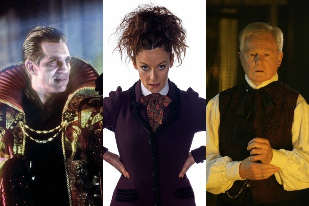 Eric Roberts, Michelle Gomez and Derek Jacobi as different incarnations of the Master in Doctor Who (BBC, HF)