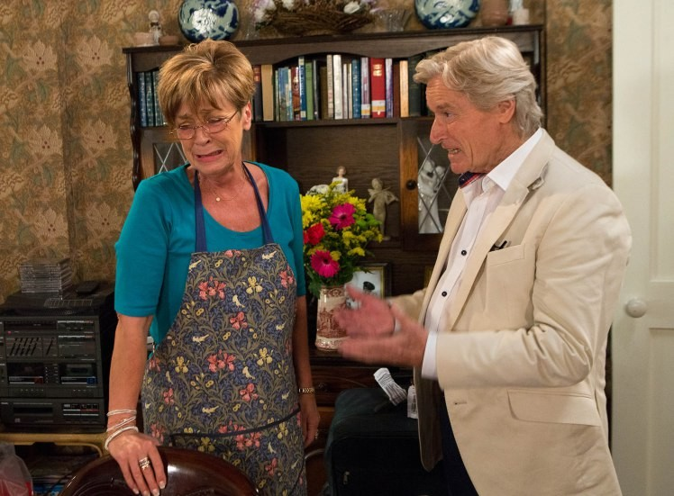 FROM ITV  STRICT EMBARGO -TV Listings Magazines Tuesday 29 July 2014, Newspapers and other media including ANY websites Saturday 2 August 2014  Coronation Street - Ep 8441  Monday 4 August 2014 - 2nd Ep  Ken Barlow [WILLIAM ROACHE] is fuming, unable to comprehend why Deirdre Barlow [ANNE KIRKBRIDE] didn't tell him about Peter's plight weeks ago. Deirdre tries to explain herself but Ken's cold and vows to visit his son as soon as he can. As he accuses Deirdre of abandoning Peter in his hour of need will Deirdre tell him a few home truths?  Picture contact: david.crook@itv.com on 0161 952 6214  Photographer - Joseph Scanlon  This photograph is (C) ITV Plc and can only be reproduced for editorial purposes directly in connection with the programme or event mentioned above, or ITV plc. Once made available by ITV plc Picture Desk, this photograph can be reproduced once only up until the transmission [TX] date and no reproduction fee will be charged. Any subsequent usage may incur a fee. This photograph must not be manipulated [excluding basic cropping] in a manner which alters the visual appearance of the person photographed deemed detrimental or inappropriate by ITV plc Picture Desk. This photograph must not be syndicated to any other company, publication or website, or permanently archived, without the express written permission of ITV Plc Picture Desk. Full Terms and conditions are available on the website www.itvpictures.com