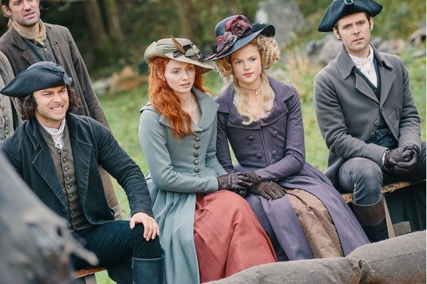WARNING: Embargoed for publication until 00:00:01 on 12/06/2018 - Programme Name: Poldark - Series 4 - TX: n/a - Episode: Poldark S4 - EP2 (No. 2) - Picture Shows: ***EMBARGOED 12TH JUNE 2018*** Ross Poldark (AIDAN TURNER), Demelza (ELEANOR TOMLINSON), Caroline Penvenen (GABRIELLA WILDE), Dwight Enys (LUKE NORRIS) - (C) Mammoth Screen - Photographer: Mike Hogan