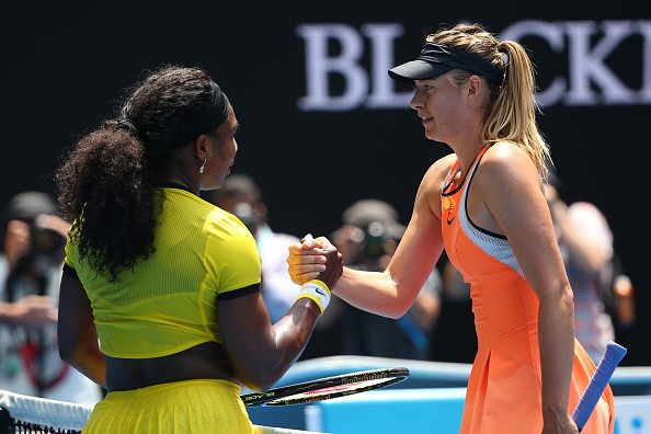 MELBOURNE, AUSTRALIA - JANUARY 26:  Maria Sharapova of Russia congratulates Serena Williams of the United States on winning their quarter final match during day nine of the 2016 Australian Open at Melbourne Park on January 26, 2016 in Melbourne, Australia.  (Photo by Quinn Rooney/Getty Images)