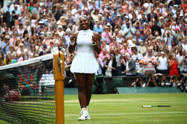 LONDON, ENGLAND - JULY 09:  Serena Williams of The United States celebrates victory following The Ladies Singles Final against Angelique Kerber of Germany on day twelve of the Wimbledon Lawn Tennis Championships at the All England Lawn Tennis and Croquet Club on July 9, 2016 in London, England.  (Photo by Clive Brunskill/Getty Images)