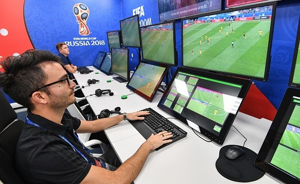 A view of the video assistant refereeing (VAR) operation room at the 2018 FIFA World Cup Russia International Broadcast Centre (IBC) in Moscow on June 9, 2018. (Photo by Mladen ANTONOV / AFP)        (Photo credit should read MLADEN ANTONOV/AFP/Getty Images)
