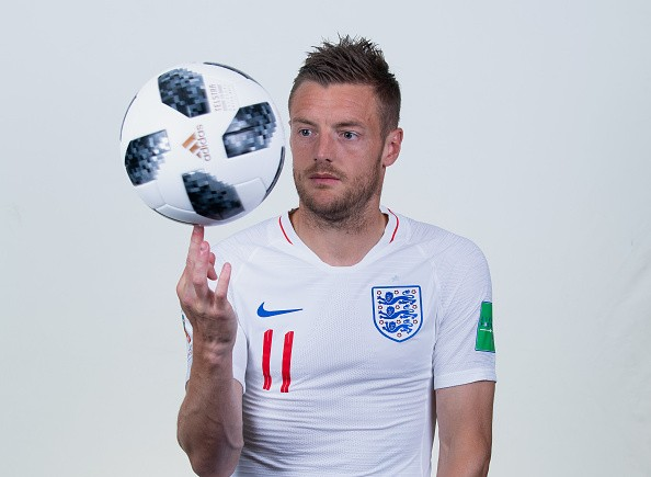 SAINT PETERSBURG, RUSSIA - JUNE 13: Jamie Vardy of England poses for a portrait during the official FIFA World Cup 2018 portrait session at on June 13, 2018 in Saint Petersburg, Russia. (Photo by Matthias Hangst - FIFA/FIFA via Getty Images)