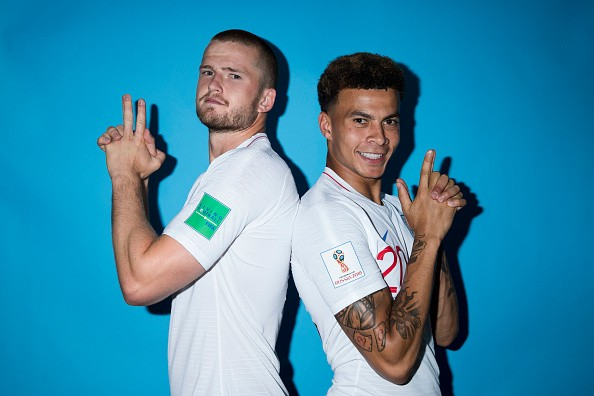 SAINT PETERSBURG, RUSSIA - JUNE 13: Eric Dier and Dele Alli of England pose during the official FIFA World Cup 2018 portrait session at on June 13, 2018 in Saint Petersburg, Russia. (Photo by Clive Rose - FIFA/FIFA via Getty Images)