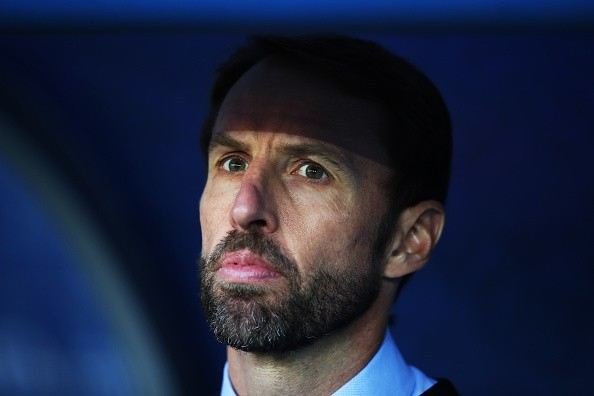 KALININGRAD, RUSSIA - JUNE 28: England manager Gareth Southgate looks on during the 2018 FIFA World Cup Russia group G match between England and Belgium at Kaliningrad Stadium on June 28, 2018 in Kaliningrad, Russia. (Photo by Ian MacNicol/Getty Images)