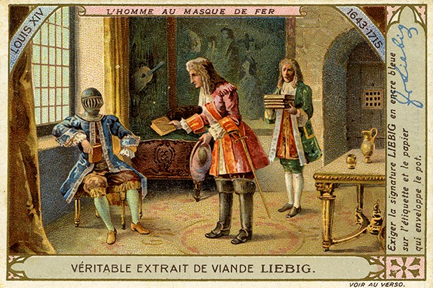 A postcard showing the Man in the Iron Mask living in luxury