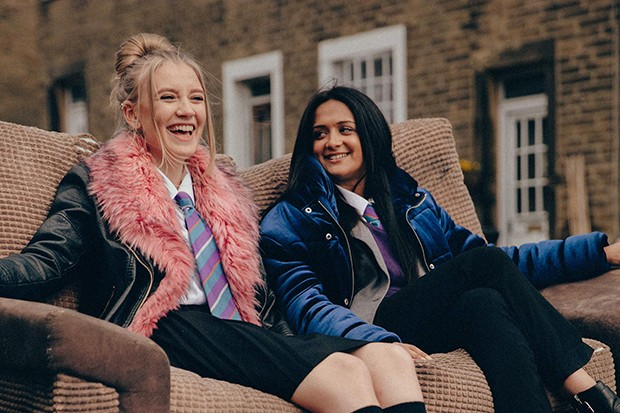 Missy (Poppy Lee Friar) and Nas (Amy Leigh Hickman) in Ackley Bridge