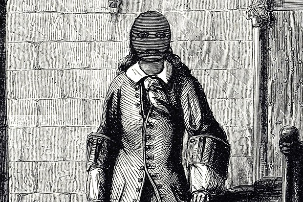 An engraving of the Man in the Iron Mask from the 19th century
