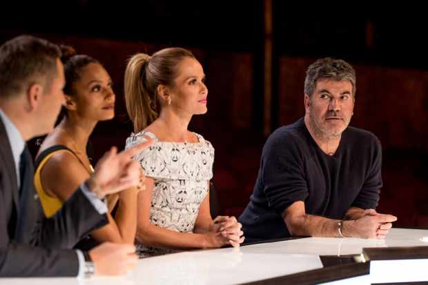 From Syco / Thames  Britain's Got Talent: SR12: Ep7 on ITV  Pictured: David Walliams, Alesha Dixon, Amanda Holden and Simon Cowell deliberate.  This photograph is (C) Syco / Thames and can only be reproduced for editorial purposes directly in connection with the programme or event mentioned above, or ITV plc. Once made available by ITV plc Picture Desk, this photograph can be reproduced once only up until the transmission [TX] date and no reproduction fee will be charged. Any subsequent usage may incur a fee. This photograph must not be manipulated [excluding basic cropping] in a manner which alters the visual appearance of the person photographed deemed detrimental or inappropriate by ITV plc Picture Desk.  This photograph must not be syndicated to any other company, publication or website, or permanently archived, without the express written permission of ITV Plc Picture Desk. Full Terms and conditions are available on the website www.itvpictures.co.uk  For further information please contact: james.hilder@itv.com / 0207 157 3052