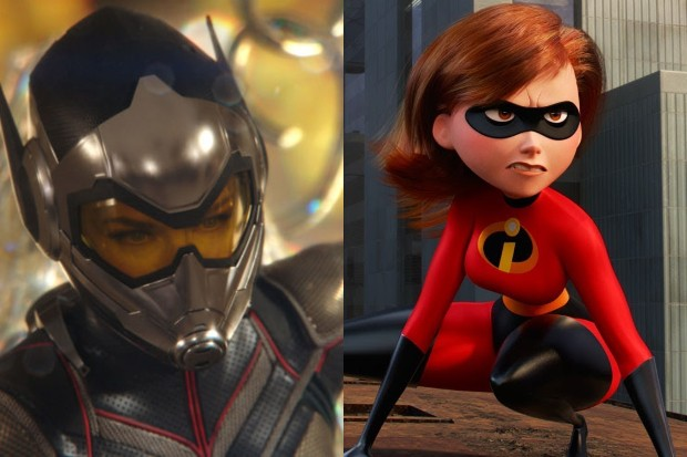 Evangeline Lilly as The Wasp and Holly Hunter as Elastigirl (Disney, HF)