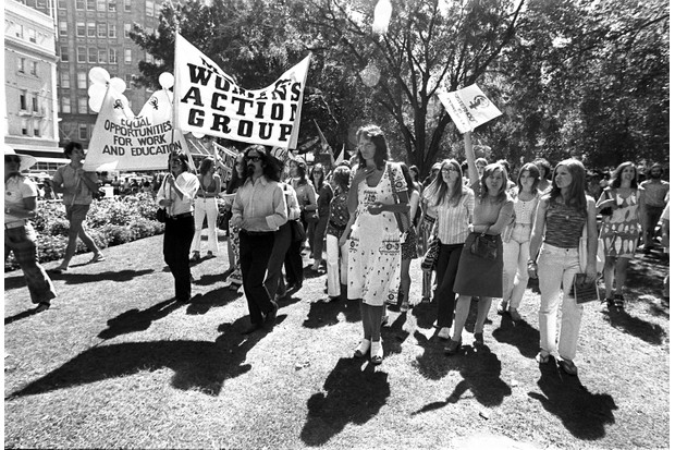 Germaine Greer at the Women's Liberation March in Hyde Park Sydney on the 11th of March 1972. (Getty)