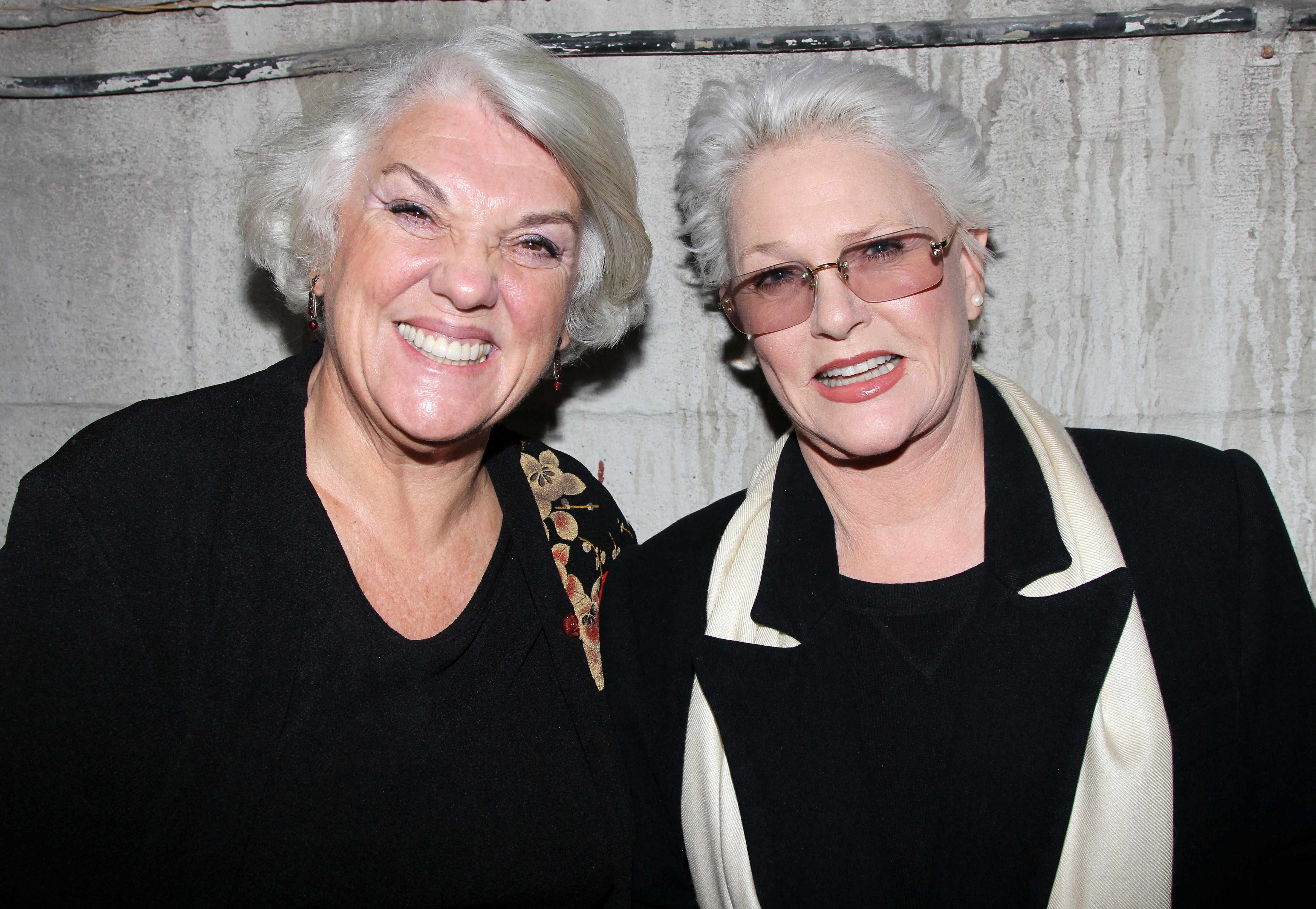 "NEW YORK, NY - NOVEMBER 01:  Tyne Daly and Sharon Gless (who starred on the television series ""Cagney and Lacey"") pose backstage at the hit play ""Grace"" on Broadway at The Cort Theater on November 1, 2012 in New York City.  (Photo by Bruce Glikas/FilmMagic)"