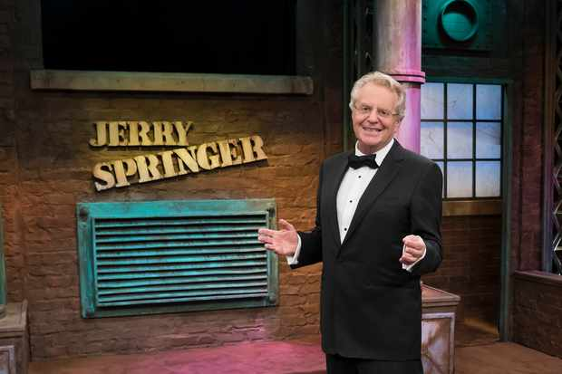 THE JERRY SPRINGER SHOW -- Season 25 -- Pictured: Jerry Springer, 25th Season Spectacular  -- (Photo by: Virginia Sherwood/NBC/NBCU Photo Bank via Getty Images)