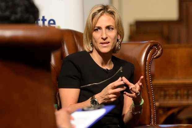 CAMBRIDGE, ENGLAND - OCTOBER 05: Emily Maitlis addresses students at the Cambridge Union Society on October 5, 2015 in Cambridge, England. (Photo by Chris Williamson/Getty Images)