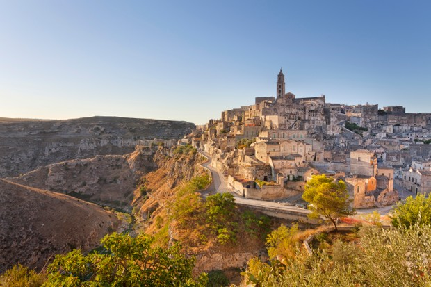 The town of Matera in southern Italy, famous for its cave dwellings